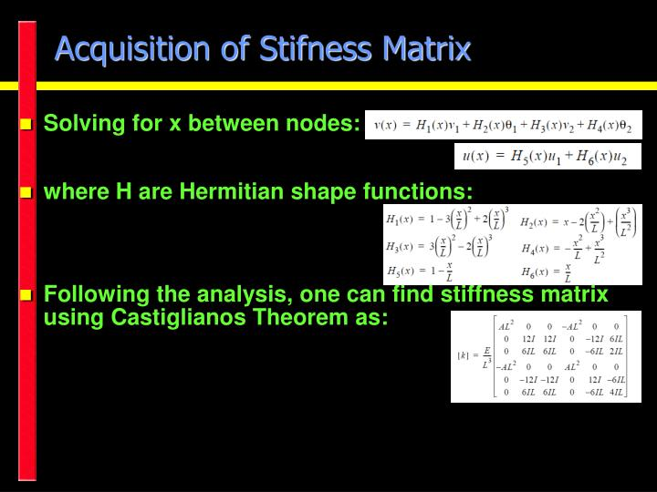 Acquisition of Stifness Matrix