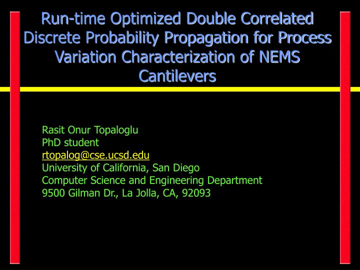 Run-time Optimized Double Correlated Discrete Probability Propagation for Process Variation Characterization of NEMS Cantilevers