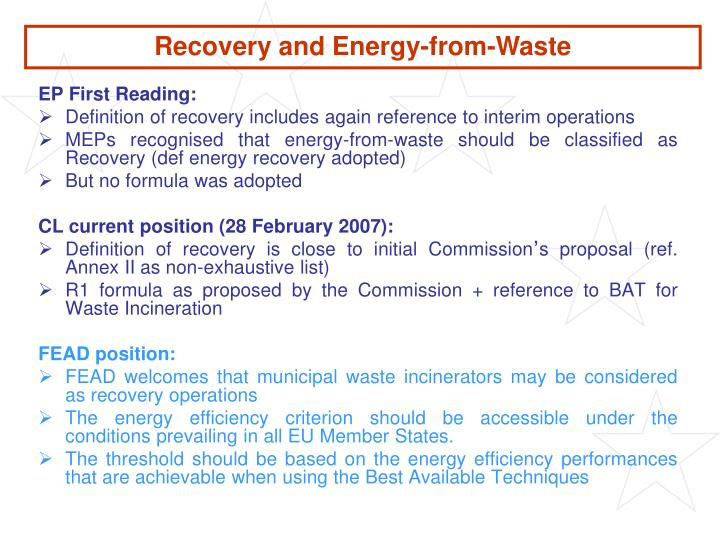 Recovery and Energy-from-Waste