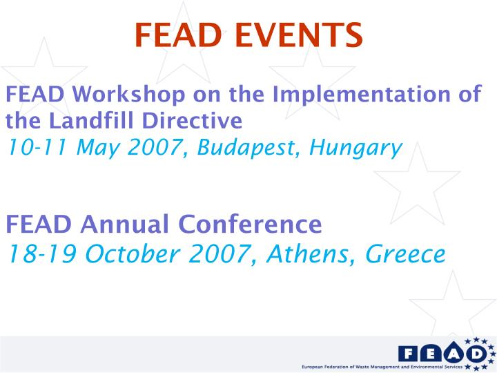 FEAD EVENTS