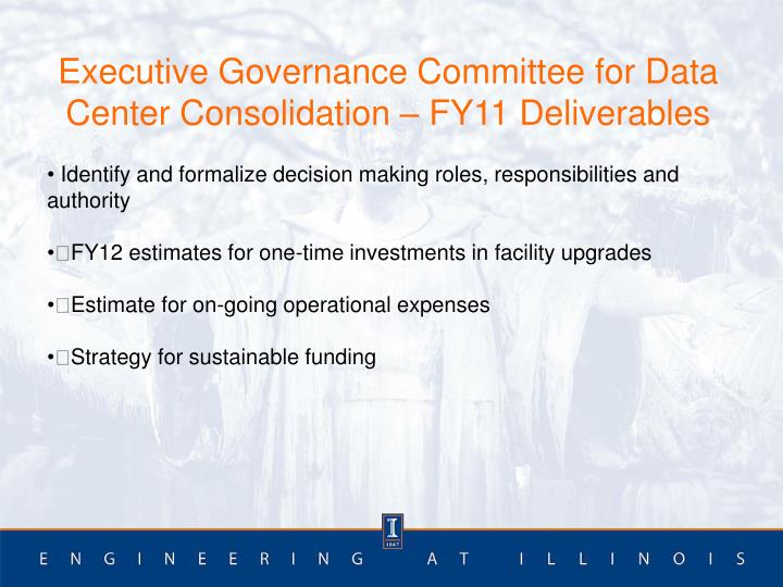 Executive Governance Committee for Data Center