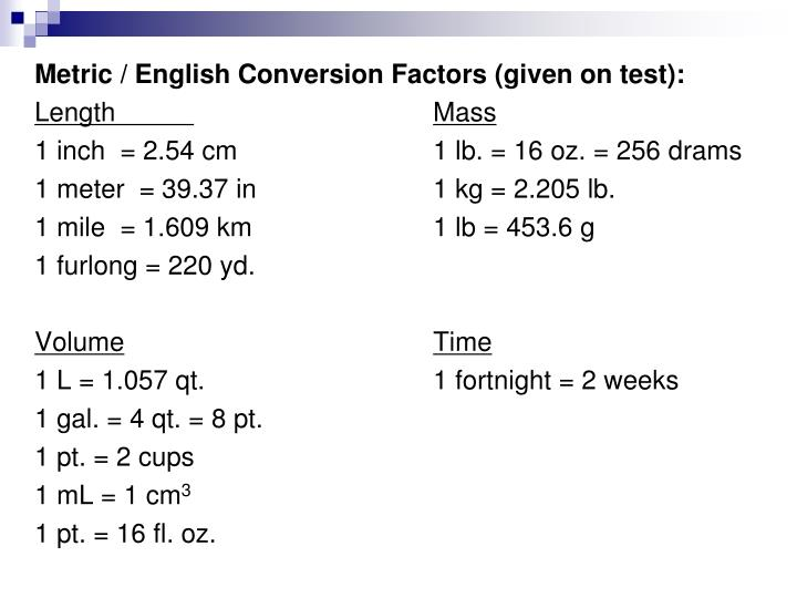 Metric / English Conversion Factors (given on test):