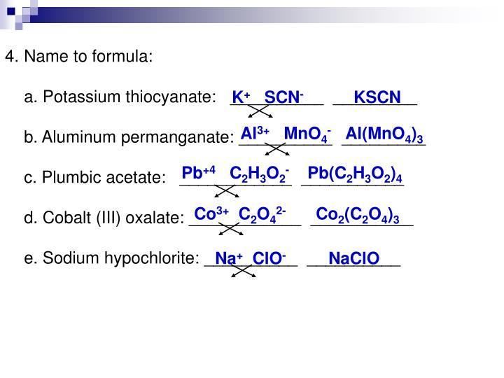 Name to formula: