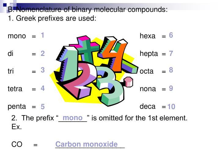 Nomenclature of binary molecular compounds: