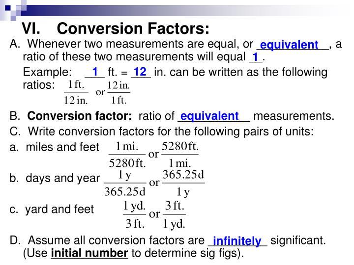 VI.Conversion Factors: