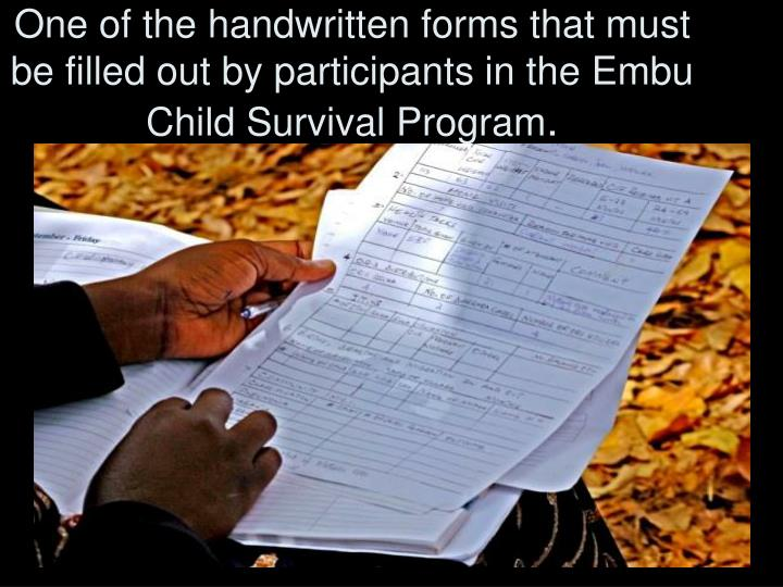 One of the handwritten forms that must be filled out by participants in the Embu Child Survival Program