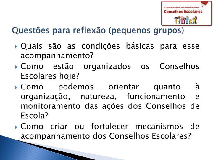 Questões para reflexão (pequenos grupos)