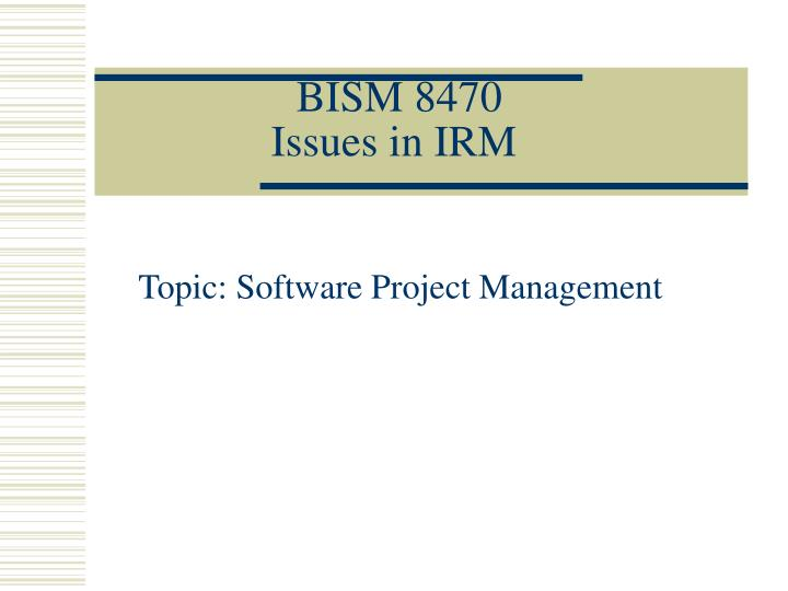 bism 8470 issues in irm n.