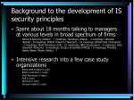 background to the development of is security principles