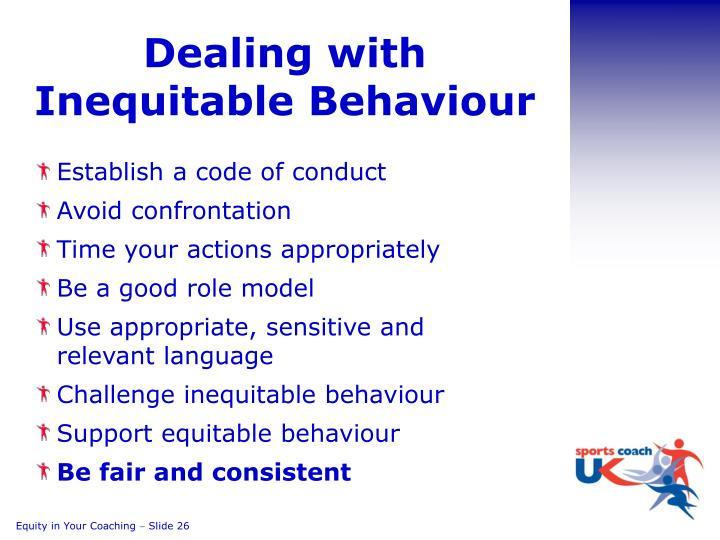 Dealing with Inequitable Behaviour