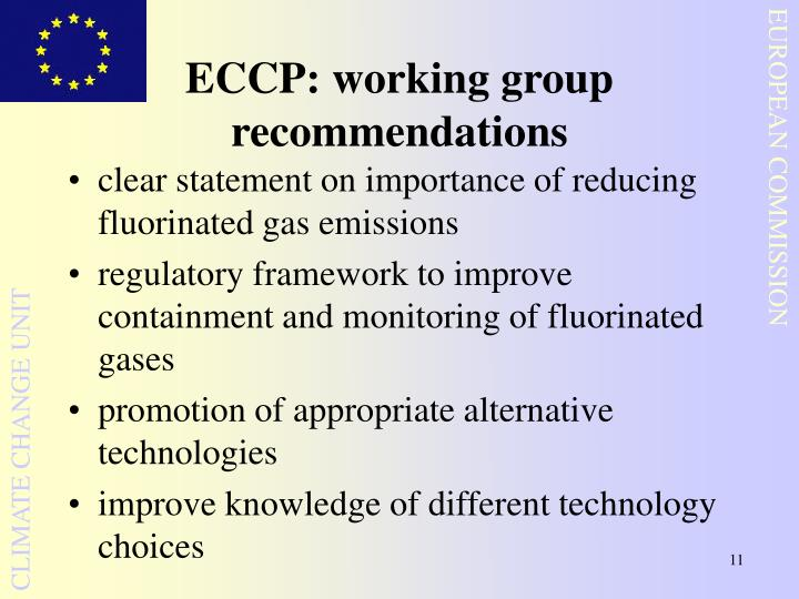 ECCP: working group recommendations