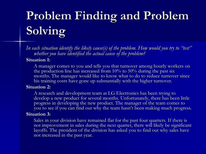 Problem Finding and Problem Solving