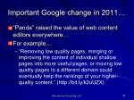 important google change in 2011