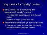 key metrics for quality content