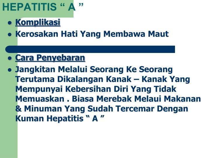 """HEPATITIS """" A """""""