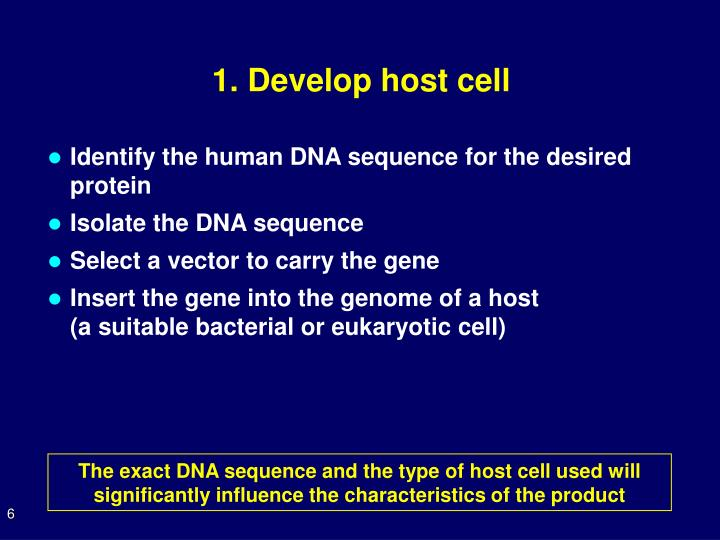 1. Develop host cell