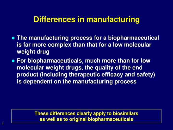 Differences in manufacturing