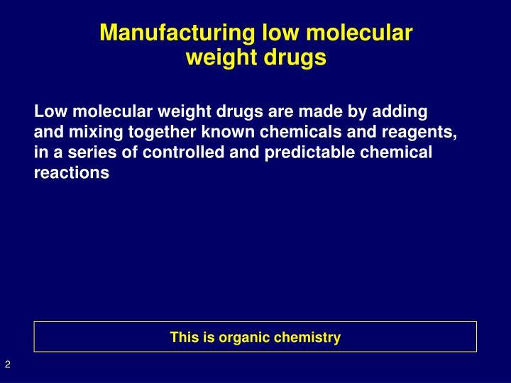 Manufacturing low molecular weight drugs