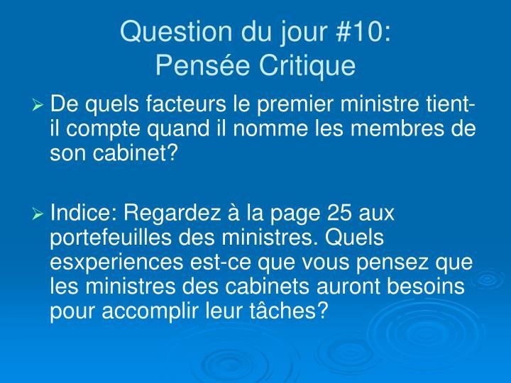 Question du jour #10: