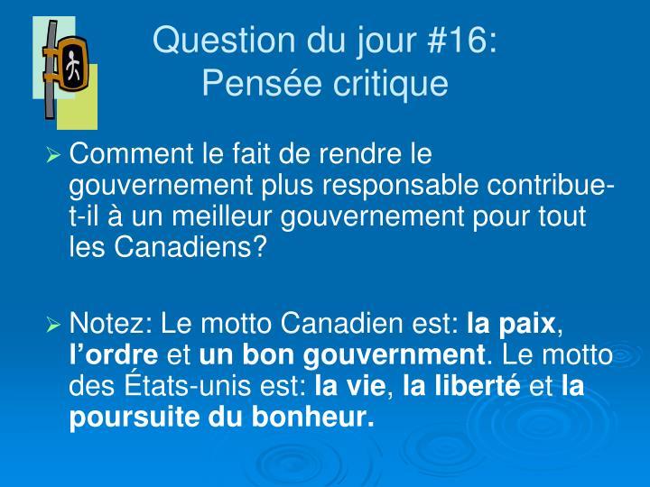 Question du jour #16: