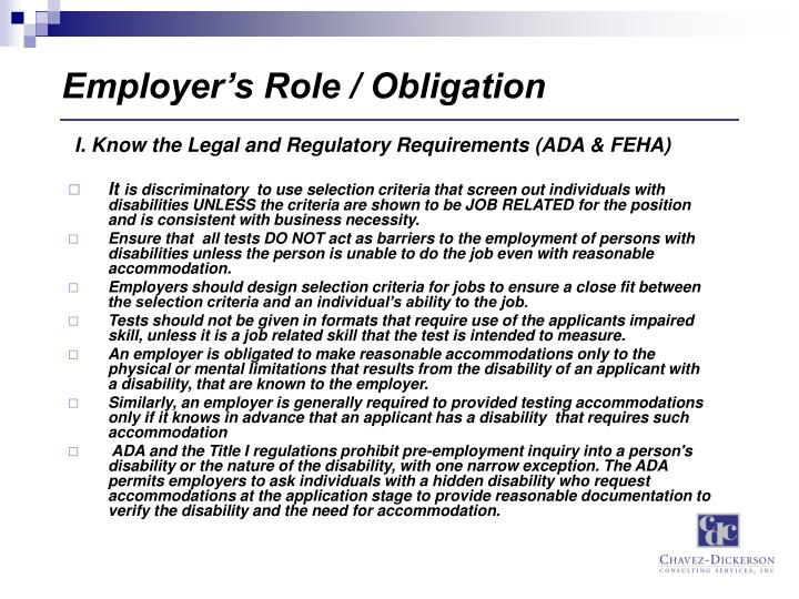 Employer's Role / Obligation