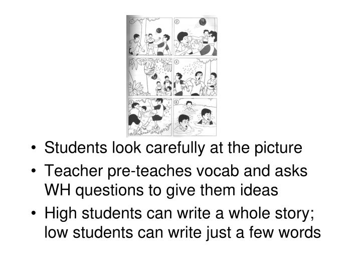 Students look carefully at the picture
