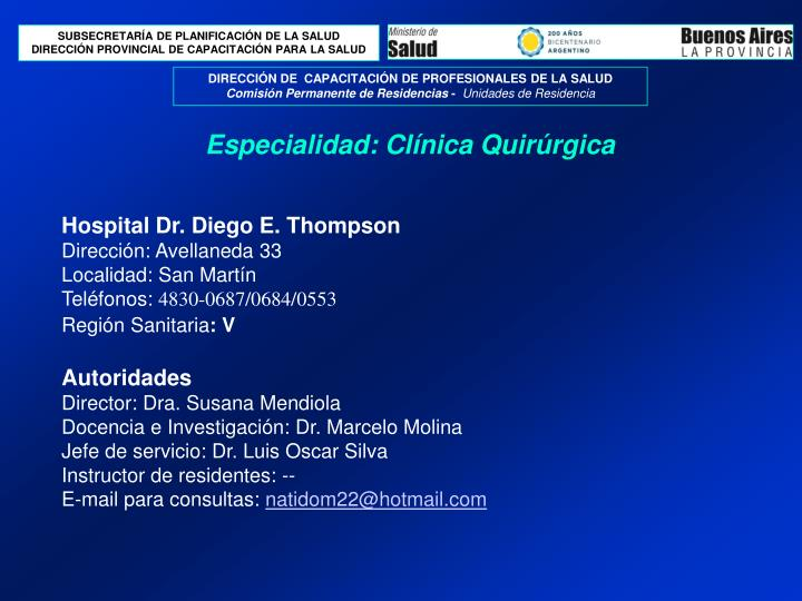 Hospital Dr. Diego E. Thompson