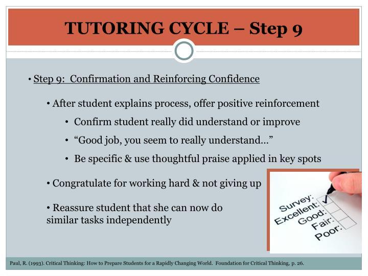 TUTORING CYCLE – Step 9