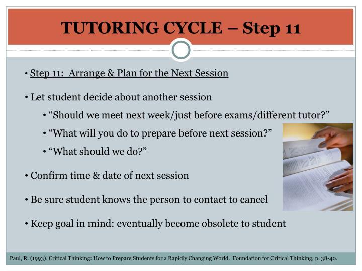 TUTORING CYCLE – Step 11