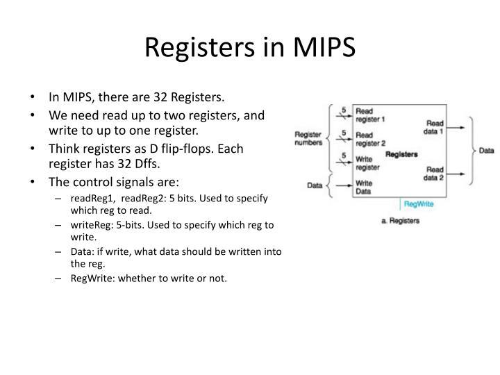 Registers in mips