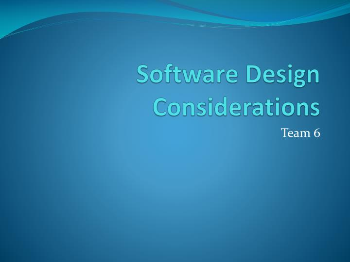software design considerations n.