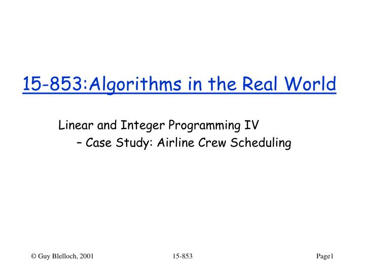 15 853 algorithms in the real world
