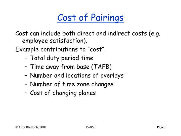 Cost of Pairings
