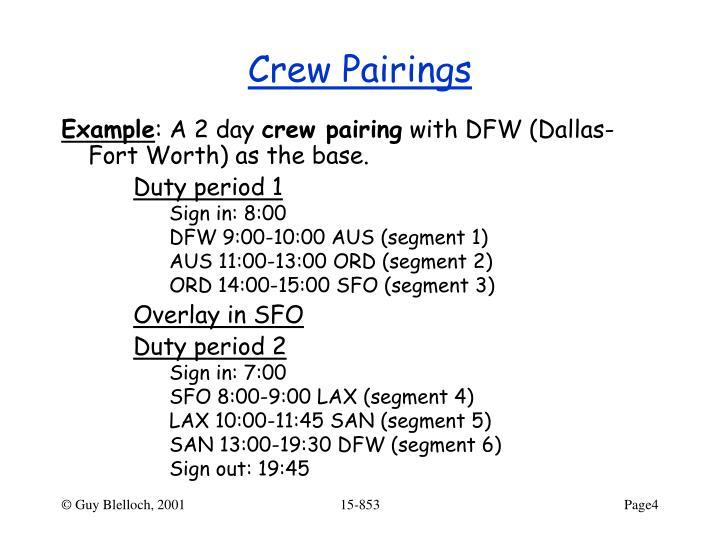 Crew Pairings
