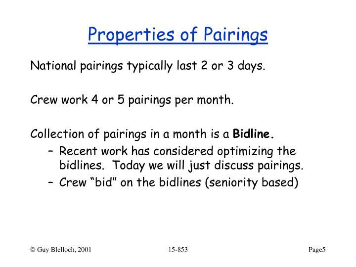 Properties of Pairings