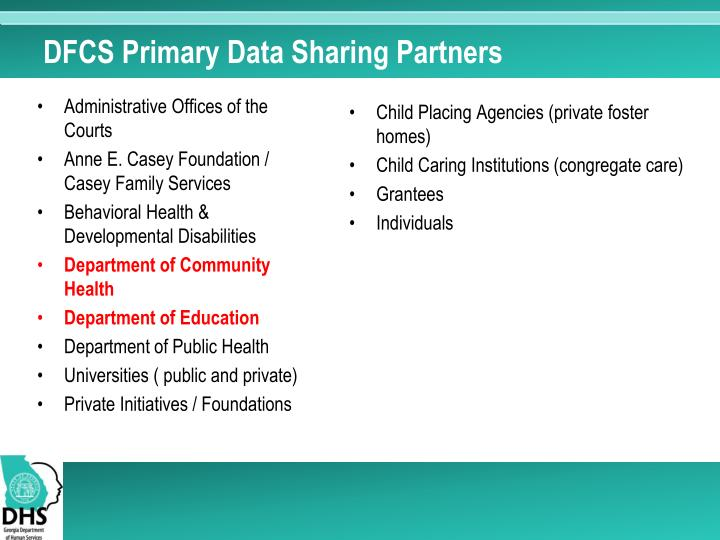 DFCS Primary Data Sharing Partners