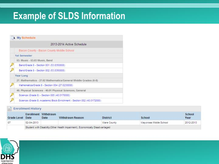 Example of SLDS Information