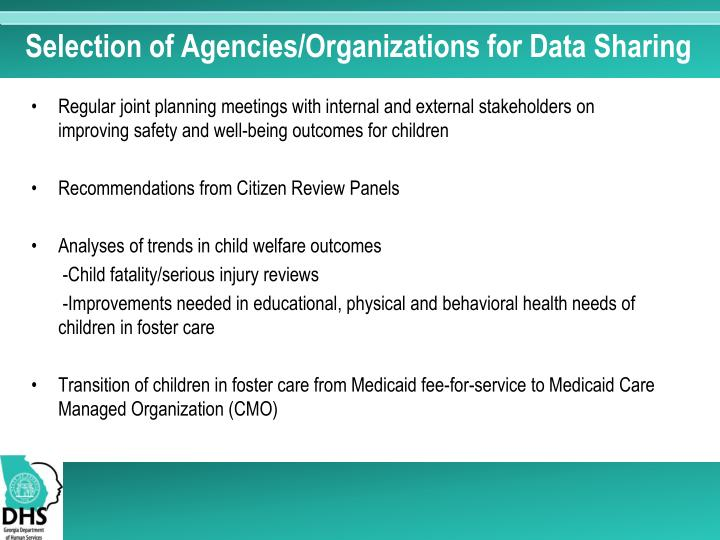 Selection of Agencies/Organizations for Data Sharing
