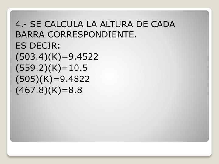 4.- SE CALCULA LA ALTURA DE CADA BARRA CORRESPONDIENTE