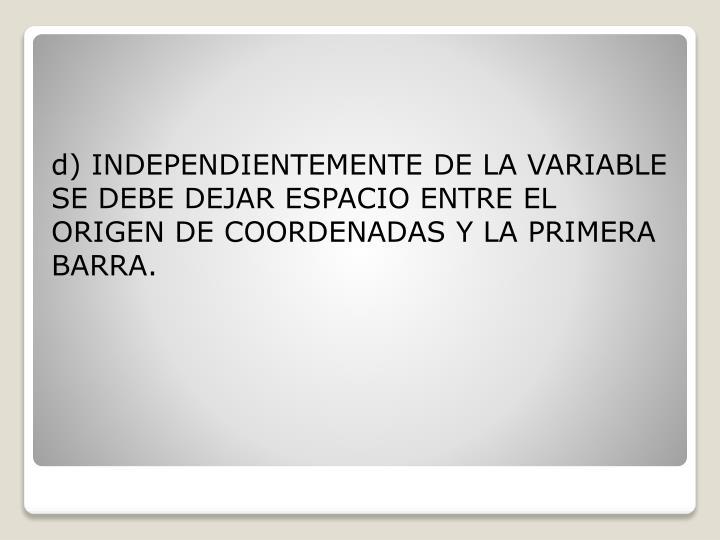 d) INDEPENDIENTEMENTE DE LA VARIABLE SE DEBE DEJAR ESPACIO ENTRE EL ORIGEN DE COORDENADAS Y LA PRIMERA BARRA.