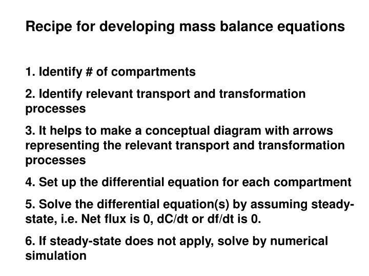 Recipe for developing mass balance equations
