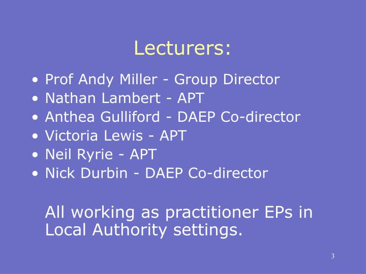 Lecturers