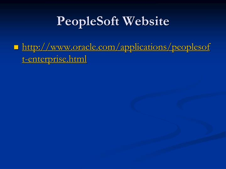 PeopleSoft Website