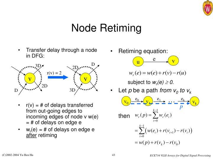 Transfer delay through a node in DFG: