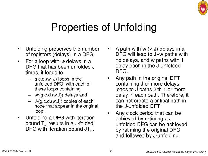 Unfolding preserves the number of registers (delays) in a DFG