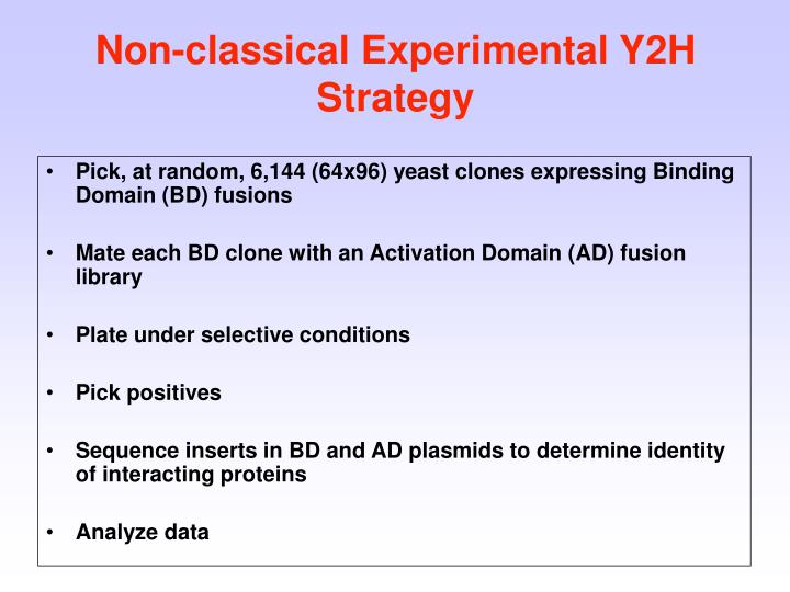 Pick, at random, 6,144 (64x96) yeast clones expressing Binding Domain (BD) fusions