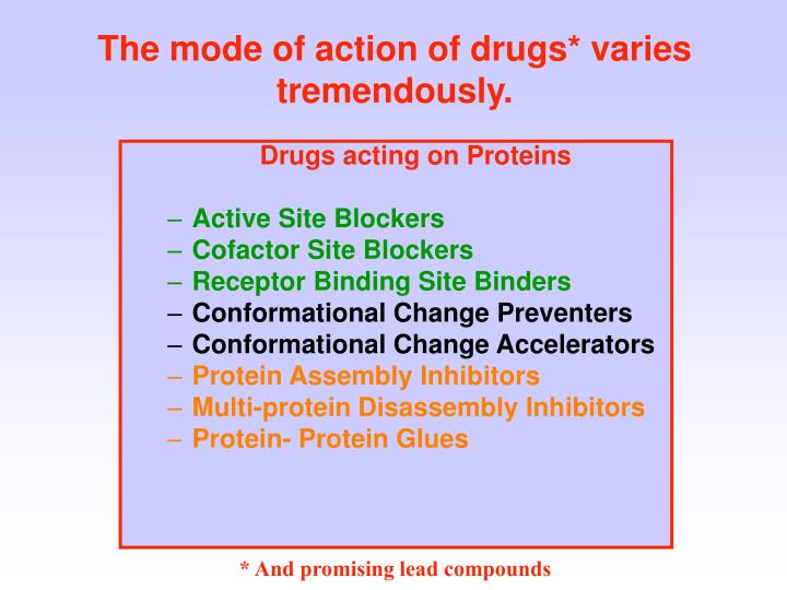 The mode of action of drugs varies tremendously