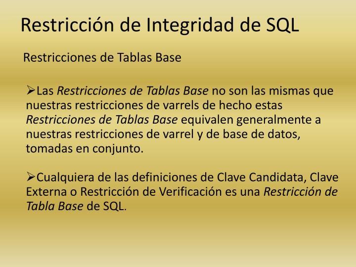 Restricciones de Tablas Base