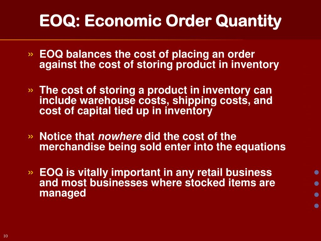 PPT - EOQ Inventory Management PowerPoint Presentation - ID