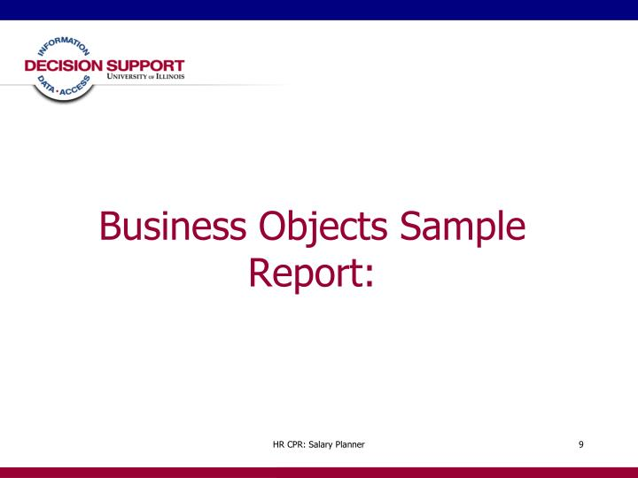 Business Objects Sample Report: